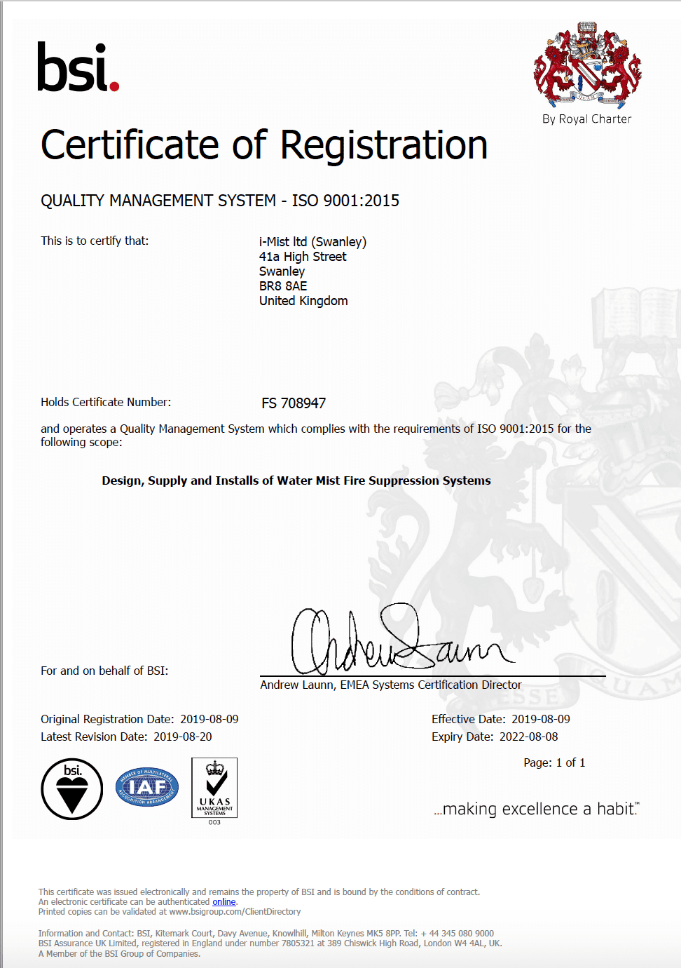 BSI certificate of registration that iMist was awarded