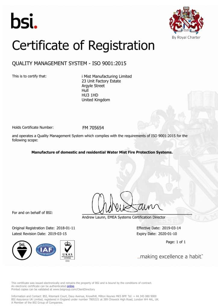 BSI ISO 9001 Manufacturing certificate that iMist was awarded