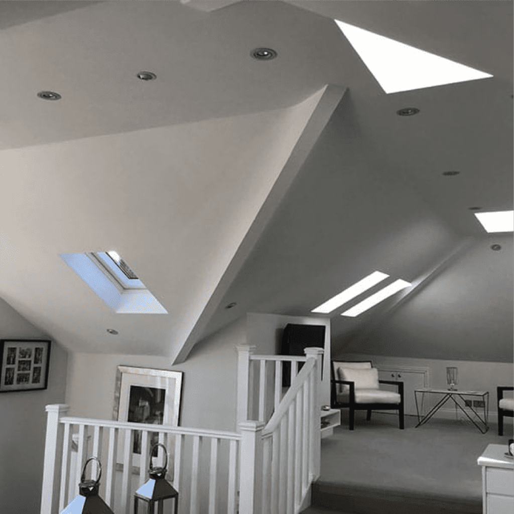 iMist nozzles in a loft ceiling, iMist installed a fire suppression system in a domestic house