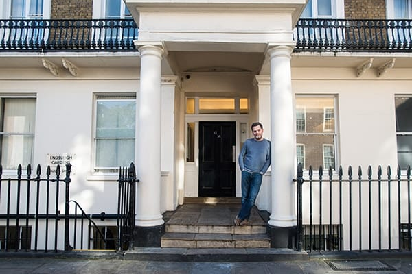 Will standing outside a house for St Mungos charity where iMist installed fire suppression system to help people protect themselves