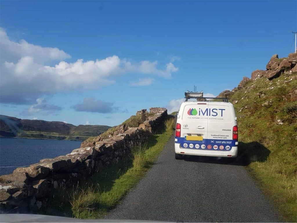 iMist vans in the rolling hills of Scotland