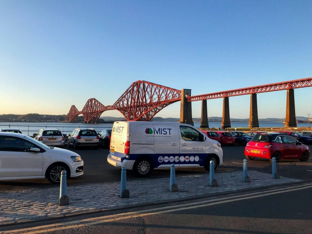 iMist van driving past the Fourth Bridge in Scotland