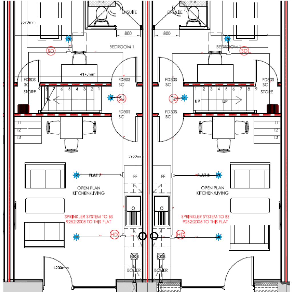 Floorplan from iMist, installing a fire suppression system in a family home