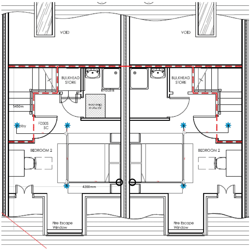 Floorplan from iMist, installing a fire suppression system in a family home upstairs