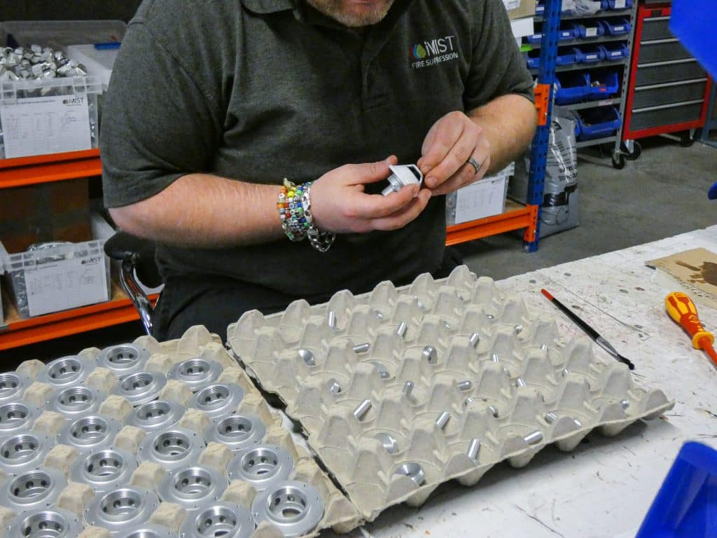 Joe from iMist working on the water mist nozzles