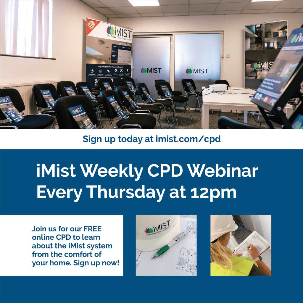 CPD webinar flyer for every thursday, free water mist systems